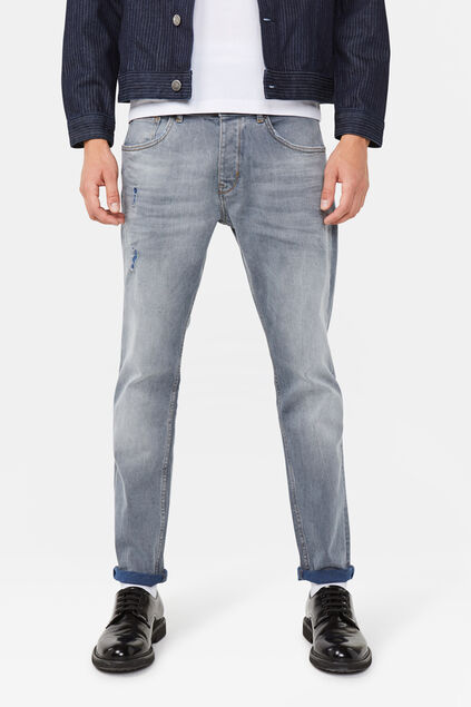 Jeans slim tapered comfort stretch homme Bleu gris