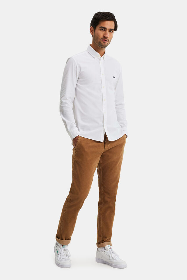 Herren-Slim-Fit-Chinos in Cord-Optik Beige