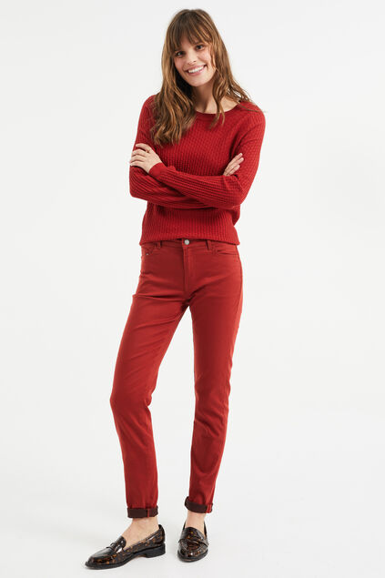 Dames mid rise skinny jeans Rouge