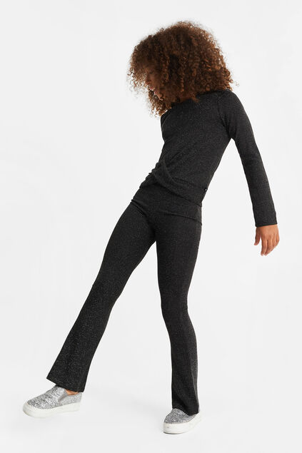 Leggings flared à fil pailleté fille Noir