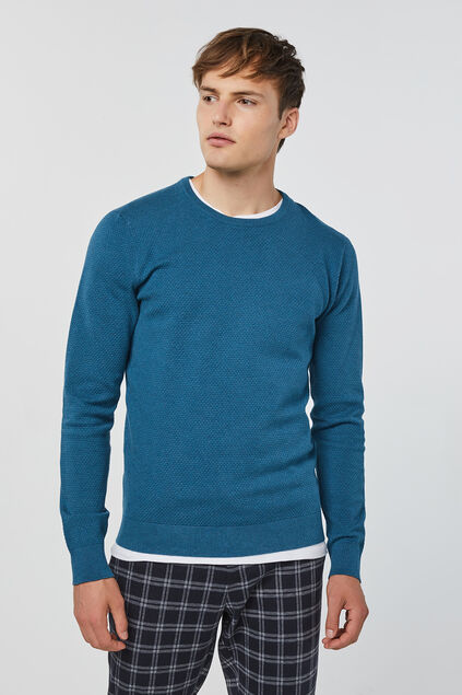 Pull de fin jersey homme Turquoise