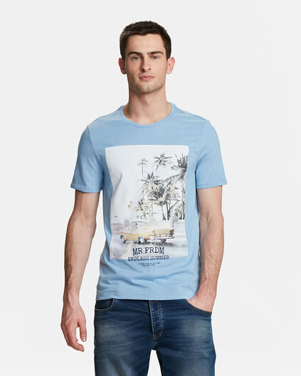 T-SHIRT MR. FREEDOM PRINT HOMME Bleu eclair