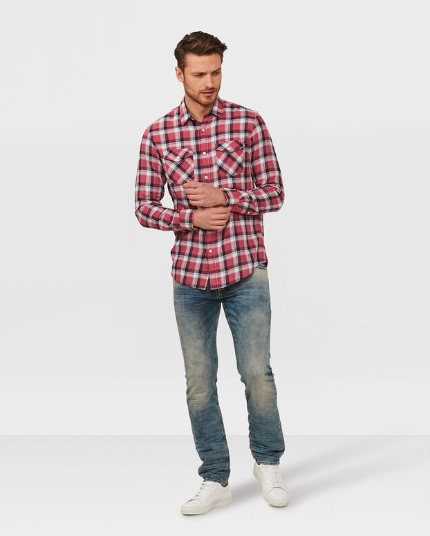 CHEMISE SLIM FIT CHECK HOMME Rouge