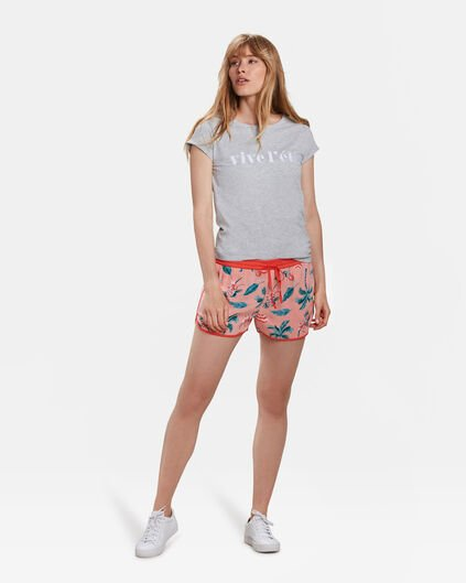 SHORT TROPICAL PRINT FEMME Rose corail