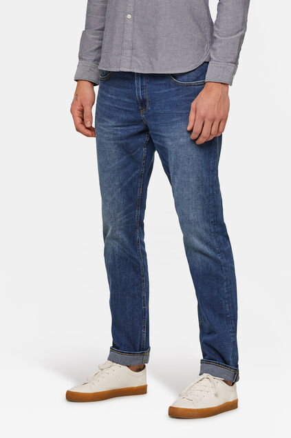 Herren-Regular-Fit-Jeans aus Comfort-Stretch-Denim Blau