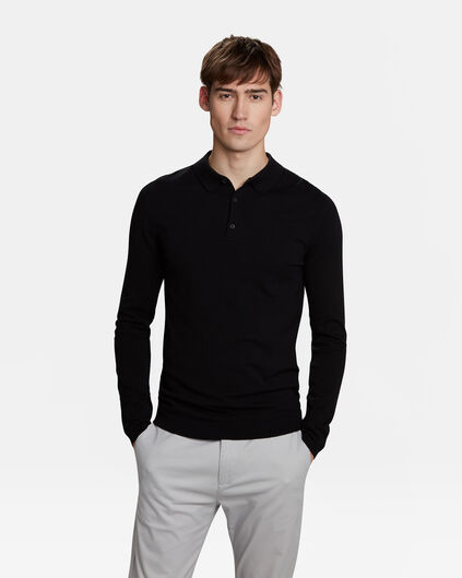 Pull col polo homme Noir