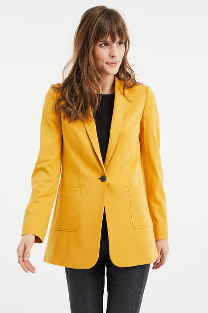 Blazer regular fit stretch femme Jaune moutarde