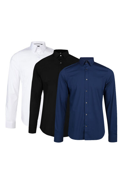 Herren-Slim-Fit-Hemd mit Stretchanteil 3er-pack