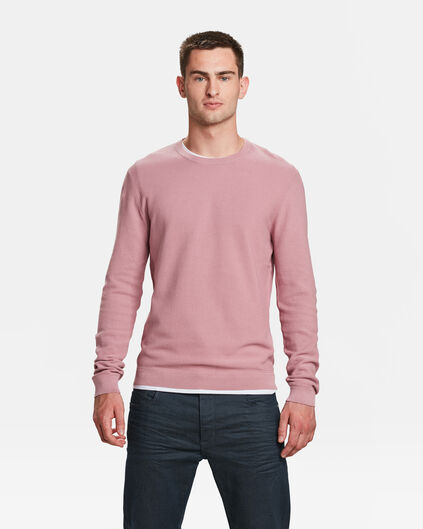 PULL STRUCTURE KNIT HOMME Rose saumon