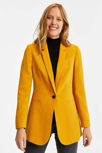 Blazer regular fit structuré femme Jaune ocre