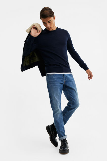 Herren-Slim-Fit-Jeans mit Superstretch Dunkelblau