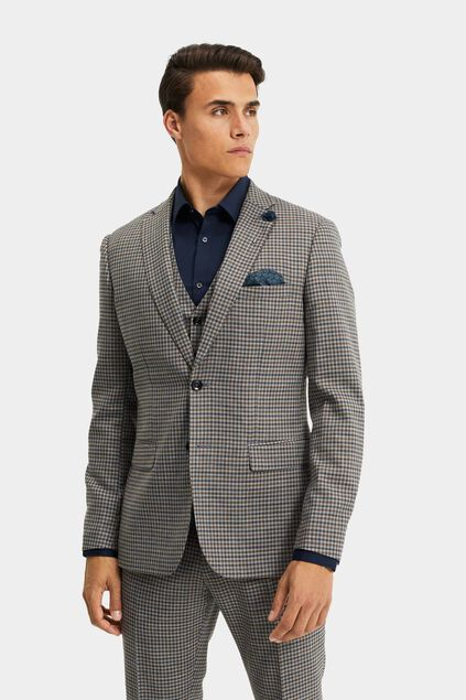 Blazer slim fit à carreaux Carey homme Gris