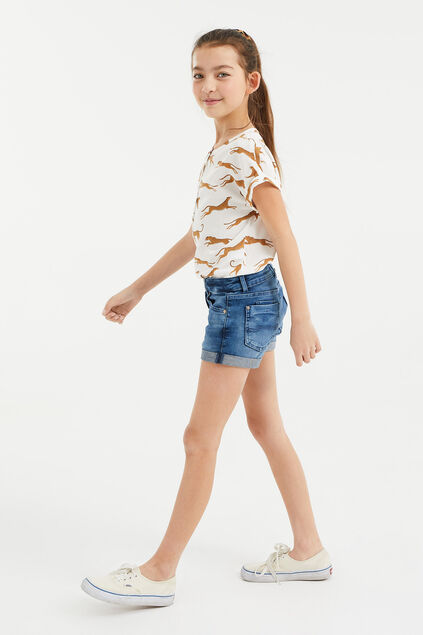 Short denim skinny fit fille Bleu