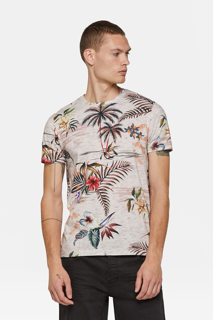 T-shirt à motif tropical homme Rose clair