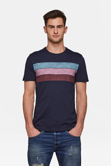 829928b4528984 Herren-T-Shirt in Colourblock-Optik Marineblau. Saved Save