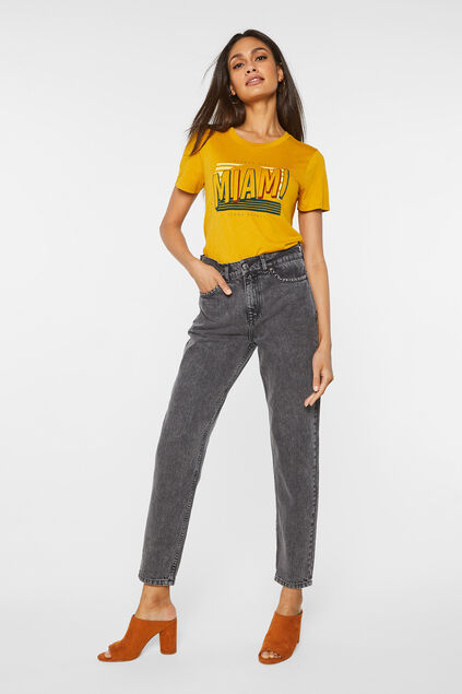 Damen-Tapered-Jeans mit hoher Taille Dunkelgrau