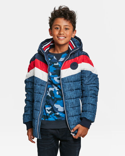 JUNGEN-STEPPJACKE IN COLORBLOCK-OPTIK Rot