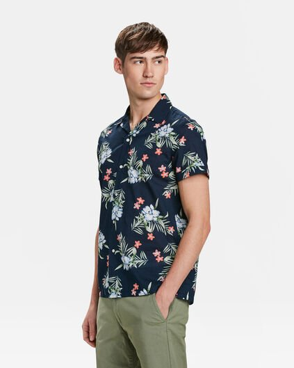 CHEMISE RELAXED FIT TROPICAL PRINT HOMME Bleu marine