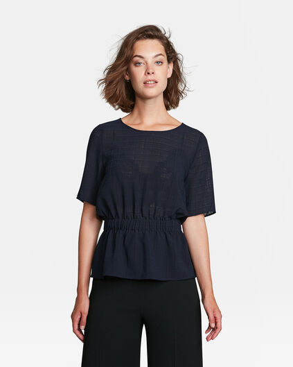 TOP SEMI TRANSPARANT CHECKED FEMME Bleu marine