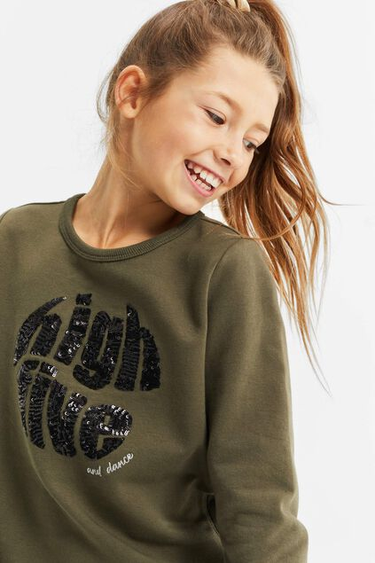 Sweat-shirt à paillettes fille Vert armee