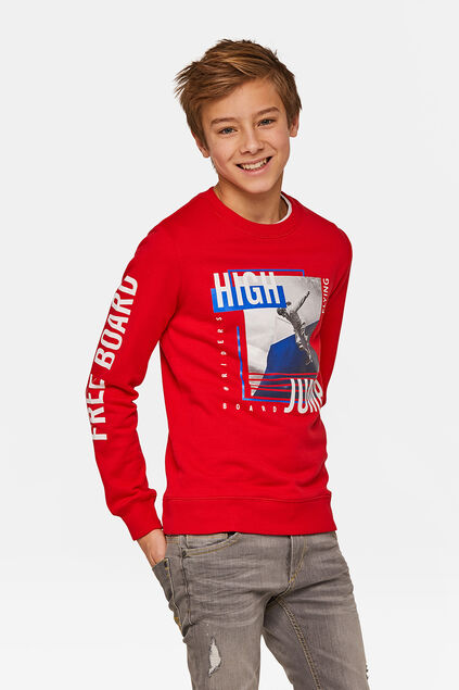 "Jungen-Sweatshirt ""High Jump"" Rot"