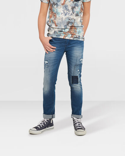 JUNGEN-SKINNY-POWER-STRETCH-RIP&REPAIR-JEANS Blau
