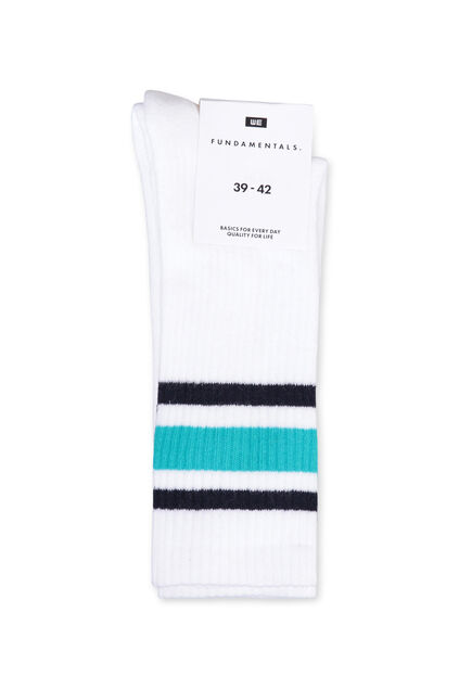 Chaussettes rayées sporty homme Blanc
