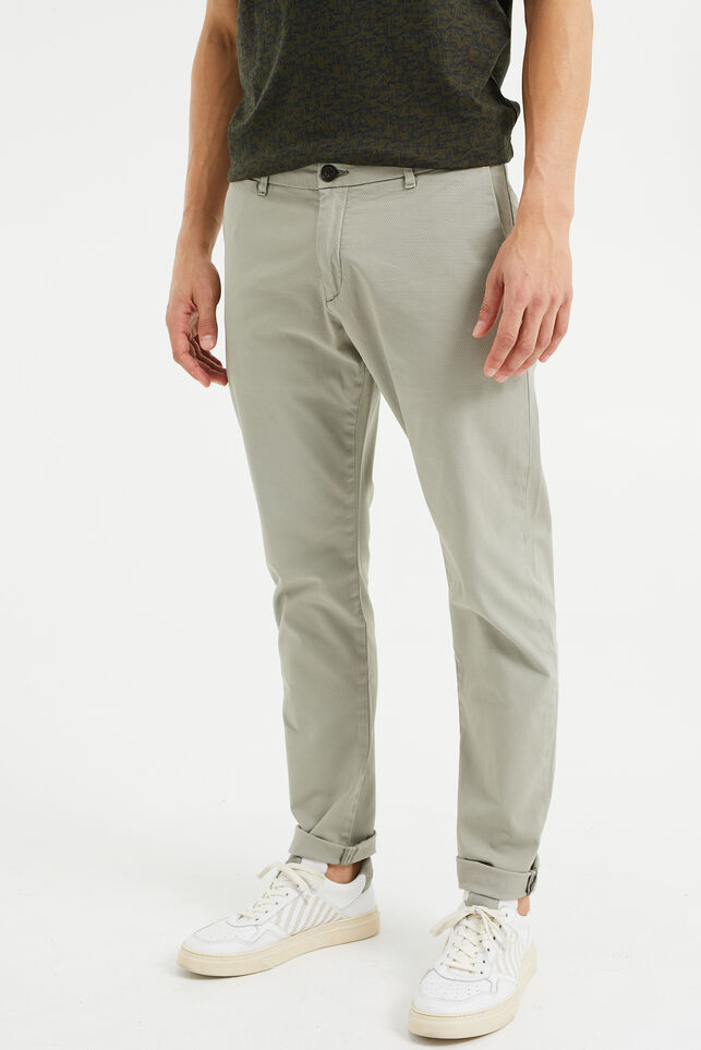 Chino slim fit à structure homme Beige