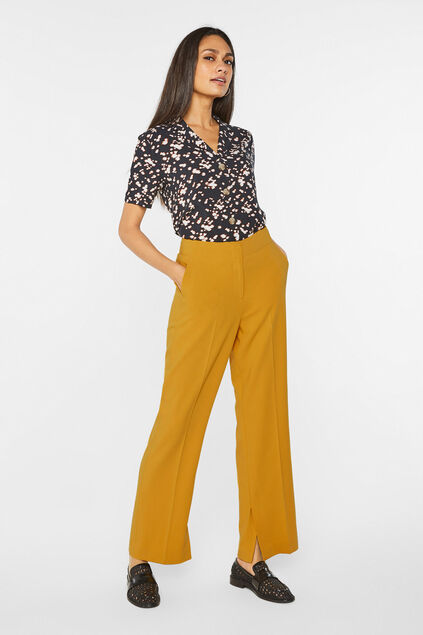 Pantalon wide leg et high waist femme Jaune moutarde