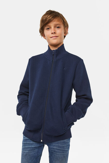 Jungen-Sweatjacke in Ripp-Optik Marineblau