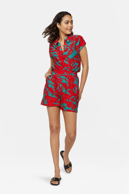 Short à imprimé tropical femme Rouge