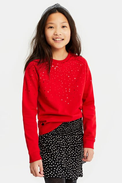 Sweat-shirt à paillettes fille Rouge