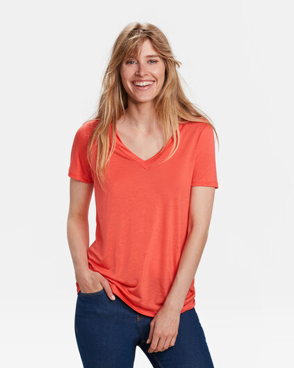 TOP LYOCELL FEMME Rose corail