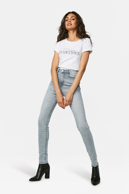 Jeans taille haute super skinny femme Gris