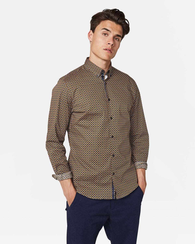 Herren Slim Fit Hemd mit Muster | 93911863 WE Fashion